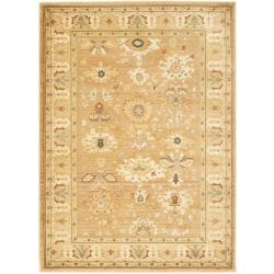Oushak Light Brown/ Gold Powerloomed Rug (5'3 x 7'6)