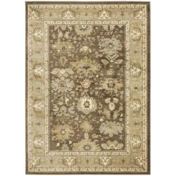 Oushak Brown/ Green Powerloomed Rug (5'3 x 7'6)