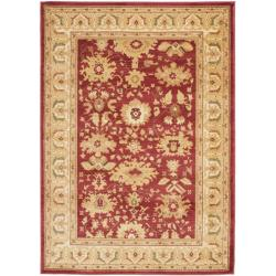 Oushak Red/ Cream Powerloomed Rug (5'3 x 7'6)