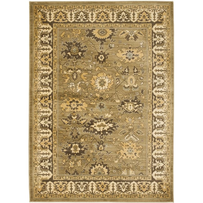 Safavieh Oushak Green/ Brown Powerloomed Rug (4' x 5'7)