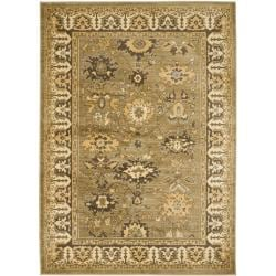 Oushak Green/ Brown Powerloomed Rug (4' x 5'7)