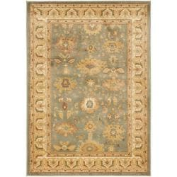 Oushak Oriental Blue/Cream Powerloomed Rug (5'3 x 7'6)