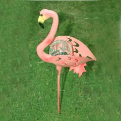Pink Flamingo Garden Stake Glass Solar Light