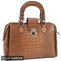 Dasein Faux-leather Crocodile-embossed Extended-zipper Satchel