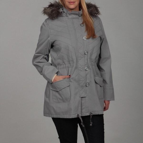 Jessica Simpson Women's Plus Size Grey Faux-fur Jacket