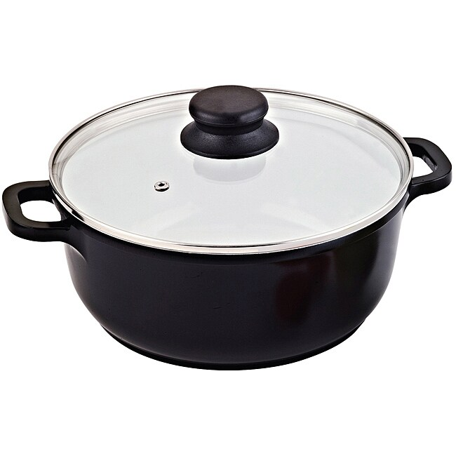 Vinaroz Black Die Cast Aluminum 9.5-inch 4.2-quart Casserole Pot