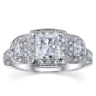 18k White Gold 1 3/4ct TDW Certified Halo Princess Diamond Ring (H-I, SI2-SI3)