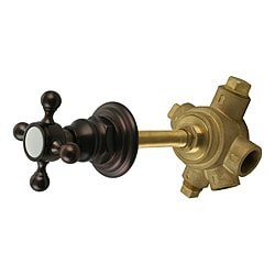Westbrass 5-Port In Wall 3-Way Shower Diverter Valve with Cross Handle Victorian Bronze