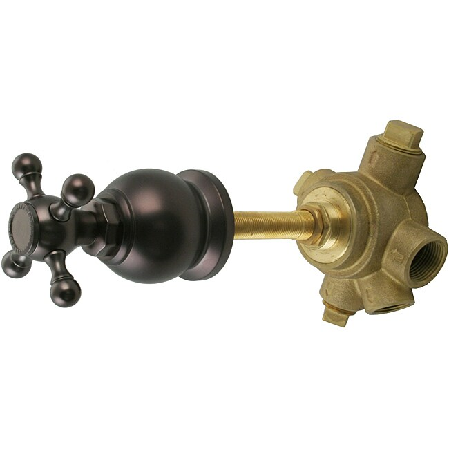 Westbrass 5-Port In Wall 3-Way Shower Diverter Valve with Cross Handle Oil rubbed Bronze