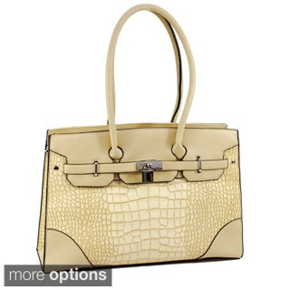 Dasein Faux-Leather Croco Embossed Shoulder-Strap Satchel