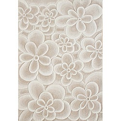 Handmade Bleach Tan Flowers New Zealand Wool Rug (8'x10')