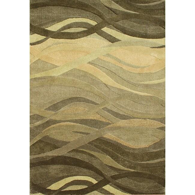 Alliyah Handmade Green New Zealand Blend Wool(9'x12')