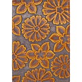 Handmade Radiant Yellow Flowers New Zealand Blend Wool Rug (5' x 8')