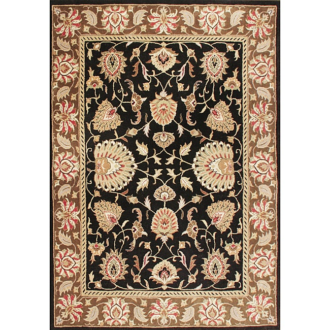 Alliyah Handmade Black Oriental New Zealand Blend Wool Rug (9' x 12')