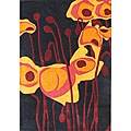 Handmade Black Tulip Flower New Zealand Wool Rug (5' x 8')