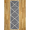 Alliyah Handmade Bluish-Grey New Zealand Blend Wool Rug (2.5' x 8')