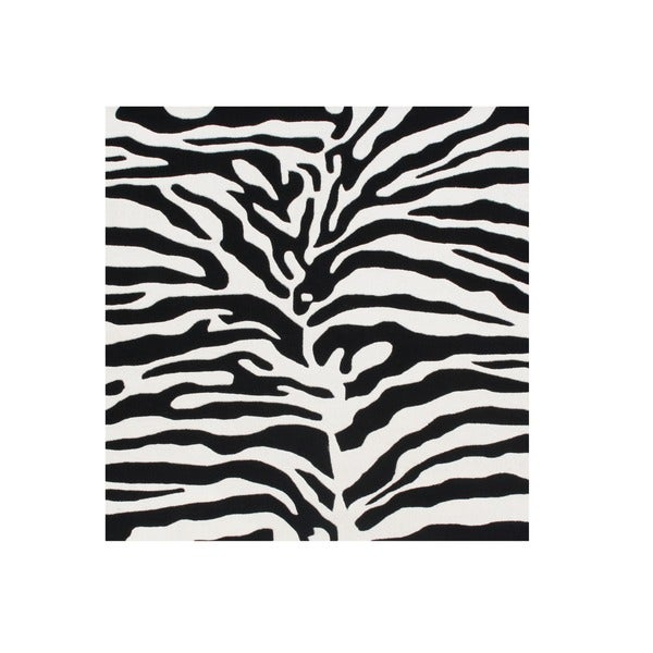 Alliyah Handmade Black/ Off-white Animal Print Pattern New Zealand Blend Wool Rug (6' x 6')