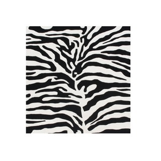 Alliyah Rugs Handmade Tufted Black/ Off-white Animal Print Pattern New Zealand Blend Wool Rug (6' x 6')