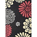 Hand-tufted Giant Flowers Black Wool Rug (8' x 10')