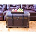 Antique Victorian Large Wood Trunk Treasure Chest