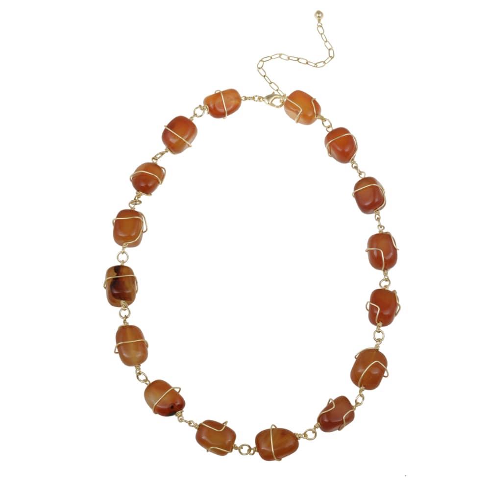 Glitzy Rocks Goldplated Carnelian Nugget Necklace