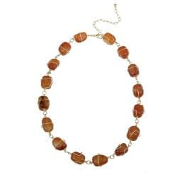 Glitzy Rocks Goldplated Carnelian Nugget Necklace