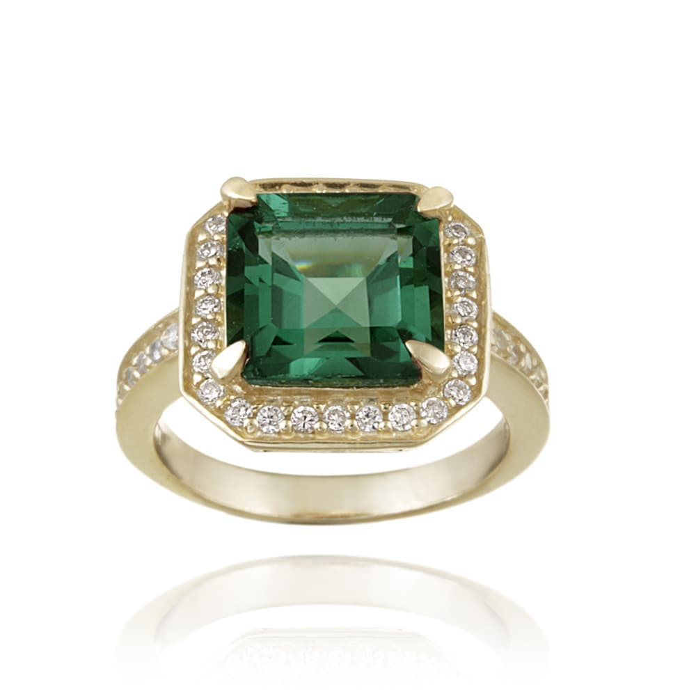 Glitzy Rocks 18k Gold over Silver Lab-created Green Quartz and Cubic Zirconia Ring