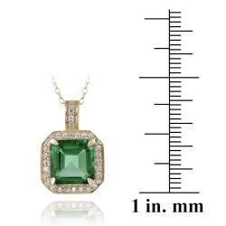 Glitzy Rocks 18k Gold over Silver Lab-created Green Quartz and CZ Necklace