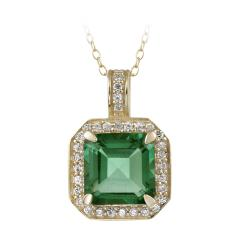 Glitzy Rocks 18k Gold over Silver Lab-created Green Quartz and CZ Necklace