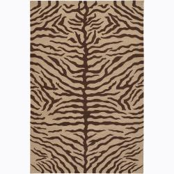 Hand-Knotted Mandara Tiger Print Tan New Zealand Wool Rug (5' x 7'6)