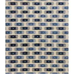 Hand-Tufted White/Blue Mandara New Zealand Wool Rug (7'9 x 10'6)