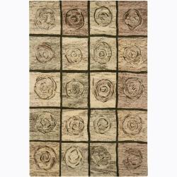 Hand-tufted Mandara Abstract Gold New Zealand Wool Rug (7'9 x 10'6)