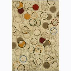 Hand-Tufted Mandara Small-Circle-Abstract-Pattern New Zealand Wool Rug (7'9 x 10'6)