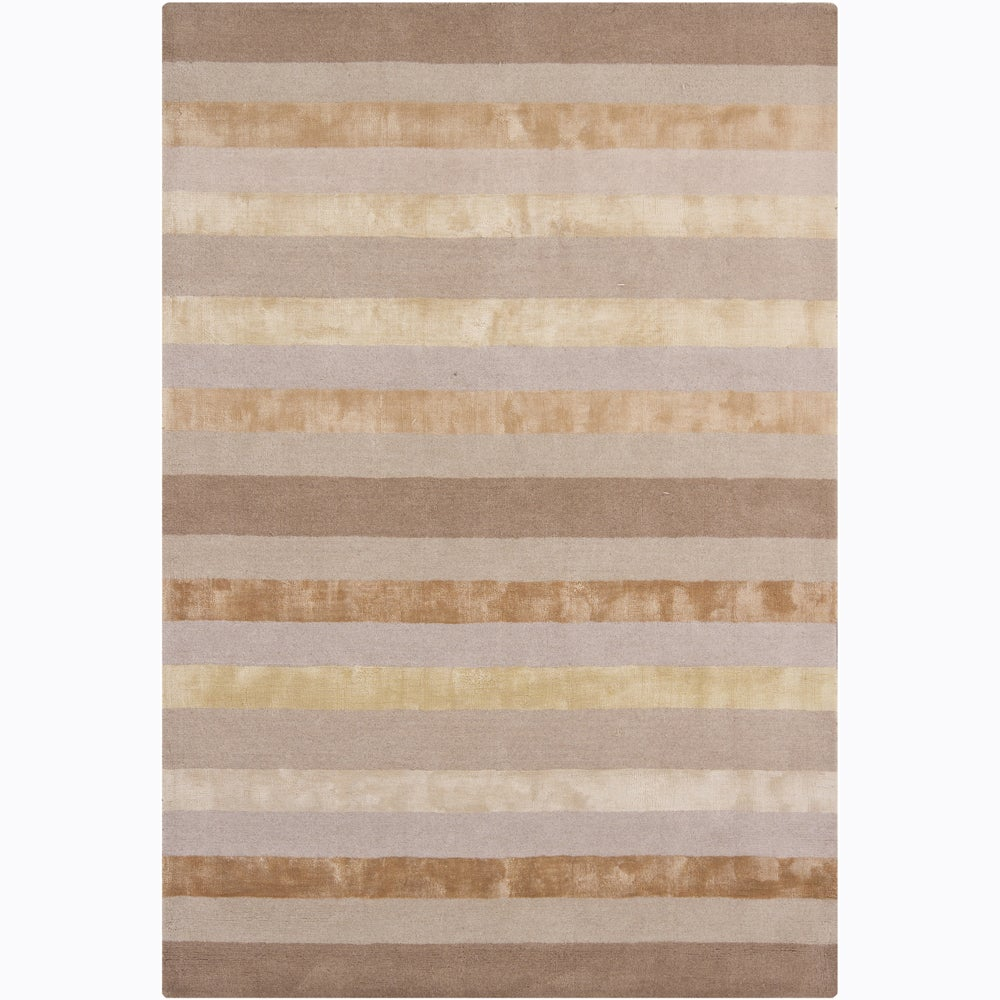 Artist's Loom Hand-tufted Contemporary Stripes Rug (5' x 7'6)