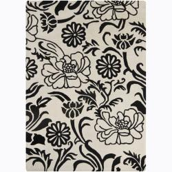 Hand-Tufted Mandara Black-Floral-Patterned Wool Rug (7' x 10')