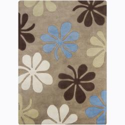 Hand-Tufted Mandara Earthy Floral Pattern Wool Rug (7' x 10')
