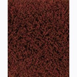 Handwoven Red/Brown Viscose Mandara Shag Rug (2'6 x 7'6)