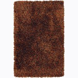 Handwoven Orange/Taupe/Brown Mandara Shag Rug (9' x 13')