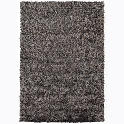 Handwoven Taupe/Beige/Black Mandara Shag Rug (9' x 13')