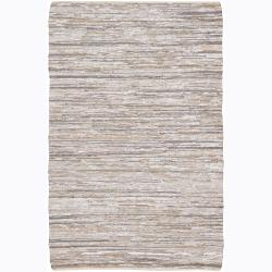 Handwoven Mandara Cotton/Leather Rug (5' x 7'6)