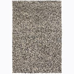 Handwoven Beige/Black Patterned Mandara Shag Area Rug (7'9 x 10'6)