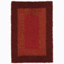 Handwoven Patterned Viscose Mandara Shag Rug (9' x 13')