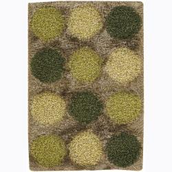 Handwoven Caramel/Green Dotted Mandara Shag Rug (9' x 13)
