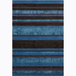 Hand-woven Mandara Stripe Pattern Rug (7'9 x 10'6)