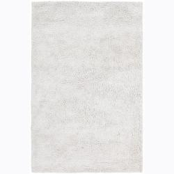Contemporary Handwoven Mandara White Shag Rug (9' x 13')