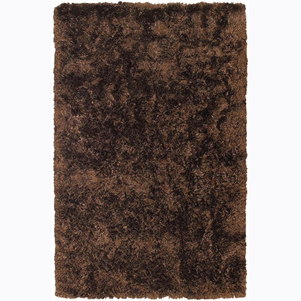 Handwoven Mandara Shag Chocolate-Brown Area Rug (7'9 x 10'6)