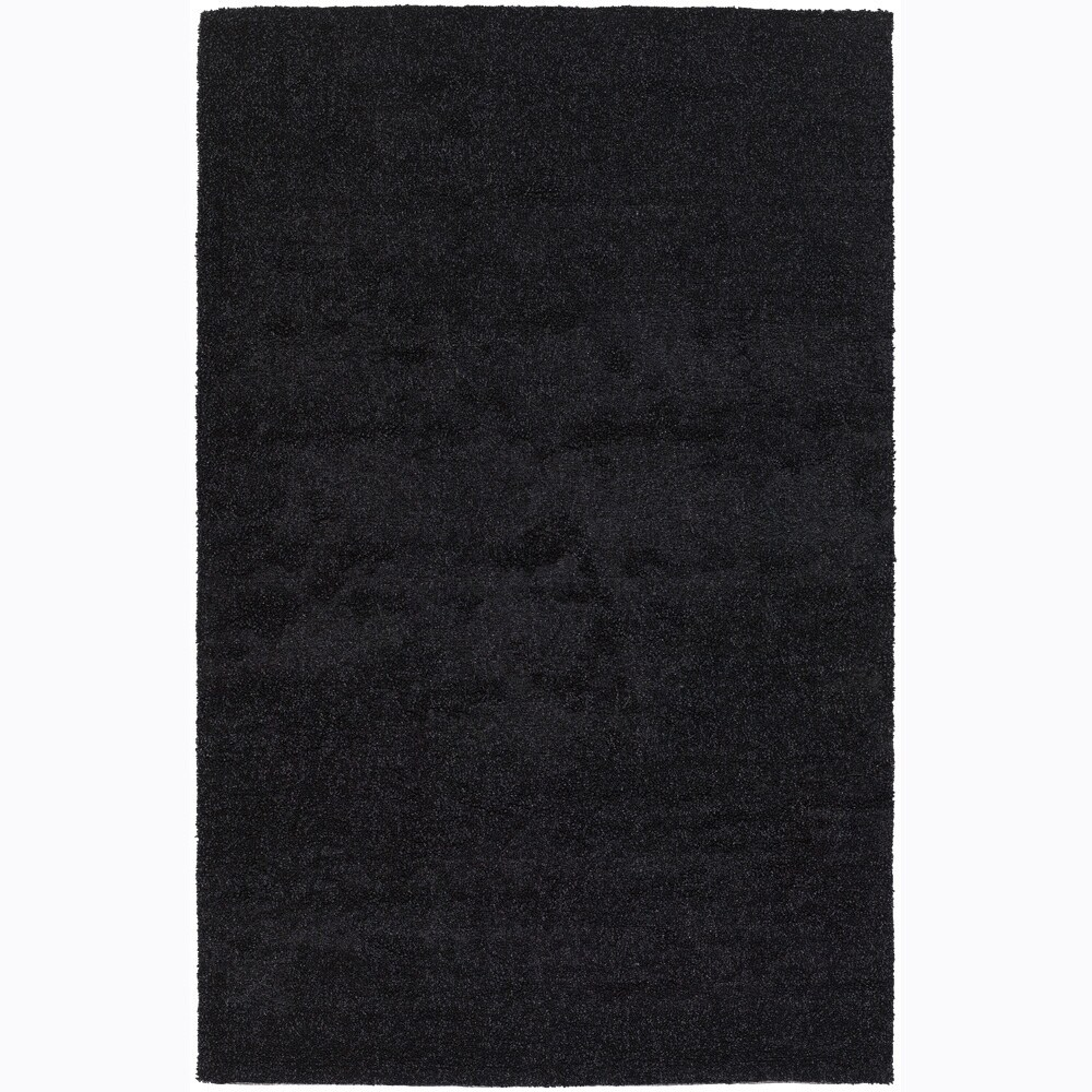 Hand-woven Mandara Black Shag Rug (7'9 x 10'6)