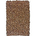 nuLOOM Handmade Alexa Brown Leather Shag Rug (2'6 x 4')