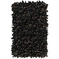 nuLOOM Handmade Alexa Black Leather Shag Rug (2'6 x 4')