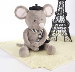 Baby Aspen 'Monsieur leSqueak and Blankie Fantastique' Plush Mouse and Blanket Gift Set